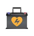 realistic black automobile battery promotion vector image