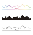 Reno skyline linear style with rainbow vector image