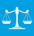 scales of justice icon white vector image vector image