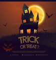 scary halloween house with moon and flying bats vector image vector image