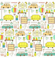 seamless pattern with home furniture background vector image vector image