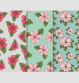 set flowers plants and exotic leaves background vector image vector image