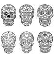 set hand drawn sugar skulls day dead vector image vector image