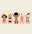 set images cute girls in swimsuits vector image