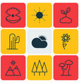 set of 9 nature icons includes sun landscape vector image vector image