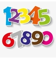 Set of colorful ribbon font Numbers 0123456 vector image