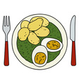 Spinach eggs and potatoes vector image vector image