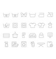 washing and laundry line symbols icons set vector image vector image