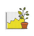 white background with colorful plantpot and grid vector image