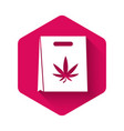 white shopping paper bag medical marijuana or vector image vector image