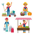 young farmer with milk can garden tools and vector image vector image
