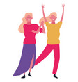 young women smiling and dancing vector image vector image