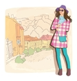 Pretty fashion girl in sketch style on a street vector image