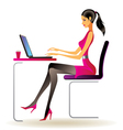 Business woman with laptop in office vector image