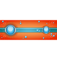 Orange and blue banner with bubbles vector image