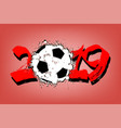 abstract number 2019 and a soccer ball from blots vector image