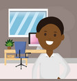 afro american business man office desk computer vector image vector image