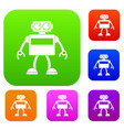 android robot set color collection vector image vector image