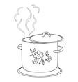 Boiling pan with pattern contours vector image vector image