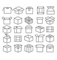 box packaging line icons vector image
