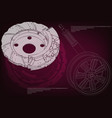 brake disk and wheel with shock absorber vector image vector image