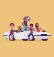 cabriolet car with teens vector image