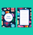 card template with gift boxes in colorful vector image