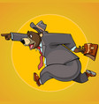 cartoon character bear in a suit with a briefcase vector image vector image