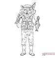cat fisherman sport and outdoor activity vector image