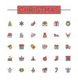 Colored Christmas Line Icons vector image