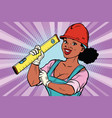 construction worker with level woman professional vector image vector image