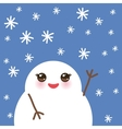 cute cartoon white kawaii snowmen with snowflakes vector image vector image