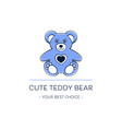 cute teddy bear logo template design vector image