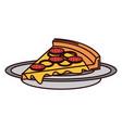 delicious italian pizza icon vector image vector image