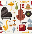 fashion jazz band music party symbols and musical vector image vector image