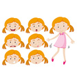 Girl in pink dress and different emotions vector image vector image