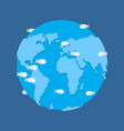 global flood planet earth under water disaster vector image
