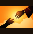 god hand reaching out for human hand vector image