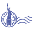 grunge round stamp with statue liberty vector image vector image