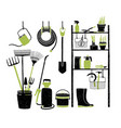 hand drawn gardening tools storing on shelving vector image