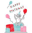 happy birthday card cartoon cat vector image vector image