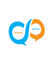 infinity shape speech bubble chat graphic logo vector image vector image