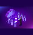 isometric cloud computing concept isometric cloud vector image vector image