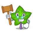 judge mascot cartoon beautiful ivy leaf plant vector image vector image