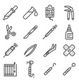 line medical equipment and supplies icons vector image vector image