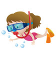 little girl diving under the water vector image vector image