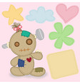 lovely calico fabric doll vector image vector image