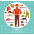 Lumberjack And Tools Icons Set vector image vector image