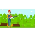 Lumberjack with chainsaw vector image vector image