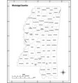 mississippi state outline administrative map vector image vector image